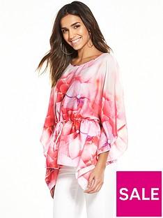 wallis-pink-floral-tie-kaftan-top