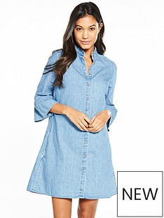 tommy-jeans-rufflenbspthree-quarter-sleeve-denim-dress
