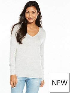 tommy-jeans-tjw-v-neck-long-sleeve-sweater-light-grey-heather