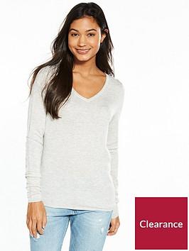 tommy-jeans-tjw-v-neck-long-sleeve-sweater-light-grey-heather
