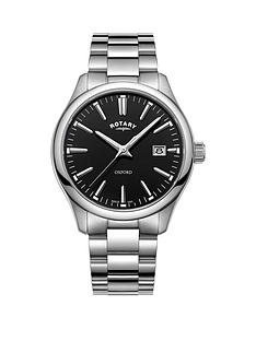rotary-oxford-black-gloss-dial-silver-bracelet-mens-watch