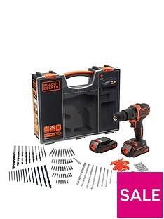 black-decker-18vnbsphammer-drill-2x-batteries-organiser-case-amp-160-accessories