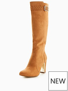v-by-very-taurus-plaited-gold-heel-knee-boot-tan