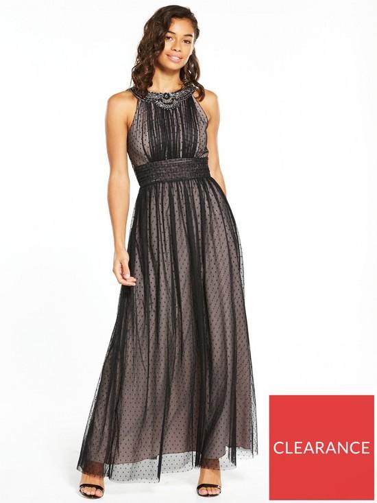 1225ed9e291 Little Mistress Petite Mesh Maxi Dress - Black