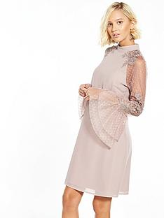 little-mistress-flute-lace-sleeve-shift-dress-mink