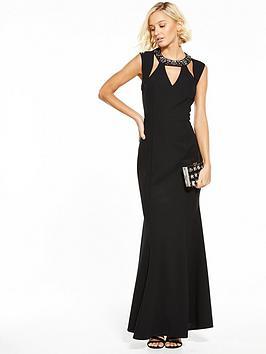 Little Mistress Cut Out Maxi Dress - Black