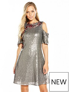 little-mistress-little-mistress-sequin-cold-shoulder-skater-dress