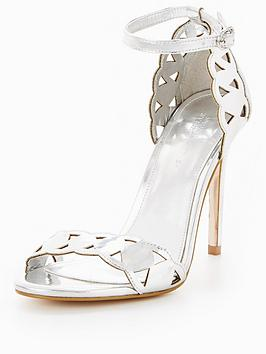 Michelle Keegan Laser Cut Heeled Sandal - Silver | very.co.uk