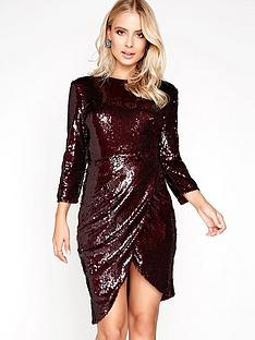 little-mistress-sequin-wrap-front-dress