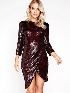 little-mistress-sequin-wrap-front-dress