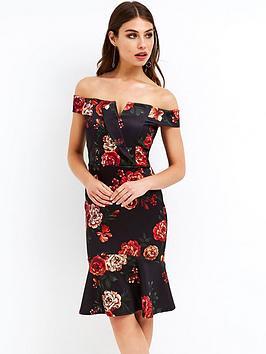 Girls On Film Bardot Floral Midi Dress