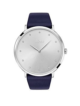 boss-jilliannbspsilver-dial-navy-leather-strap-ladies-watch