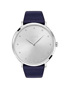 hugo-boss-black-jilliannbspsilver-dial-navy-leather-strap-ladies-watch