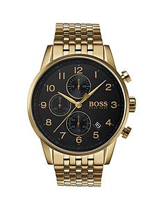 boss-1513531nbspnavigator-black-dial-gold-plated-stainless-steel-bracelet-mens-watch