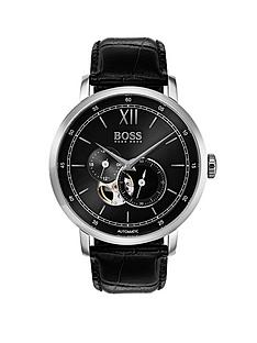 hugo-boss-black-1513504nbspsignature-black-dial-black-leather-strap-mensnbspwatch