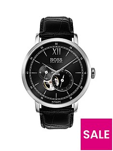 hugo-boss-black-1513504nbspsignature-black-dial-black-leather-strap-mensnbspwatch