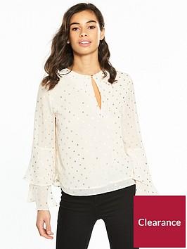 v-by-very-petite-flute-sleeve-blouse-spotnbsp