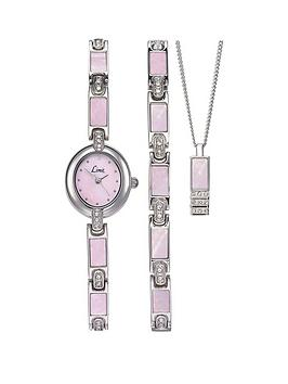 limit-limit-silver-tone-with-pink-mother-of-pearl-dial-ladies-watch-with-matching-bracelet-and-pendant