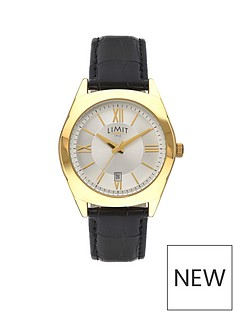 limit-limit-gold-plated-with-black-croco-effect-strap-mens-watch
