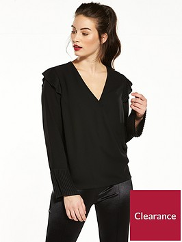 v-by-very-pleat-detail-wrap-blouse-black