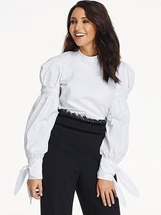 michelle-keegan-tie-sleeve-poplin-blouse