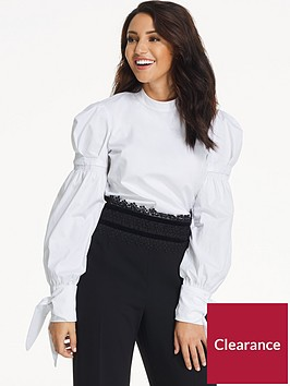 michelle-keegan-tie-sleeve-poplin-blouse