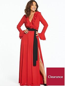 myleene-klass-contrast-tie-ruffle-front-maxi-dress