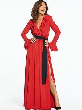 Myleene Klass Contrast Tie Ruffle Front Maxi Dress