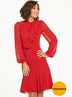 myleene-klass-tie-front-ruffle-front-tea-dress-red