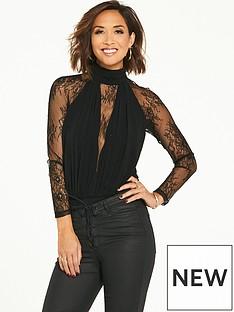 myleene-klass-lace-panel-bodysuit-black