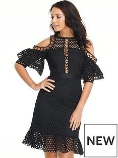 michelle-keegan-eyelet-cold-shoulder-dress