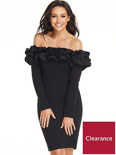 michelle-keegan-ruffle-long-sleeve-bodycon-dress-black