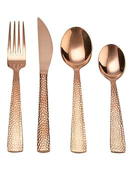 ideal-home-16-piece-hammered-design-cutlery-set-ndash-copper