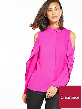 warehouse-cold-shoulder-ruffle-blouse
