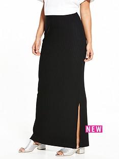 warehouse-ribbed-maxi-skirt-black