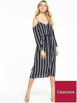 warehouse-button-through-striped-cold-shoulder-dress