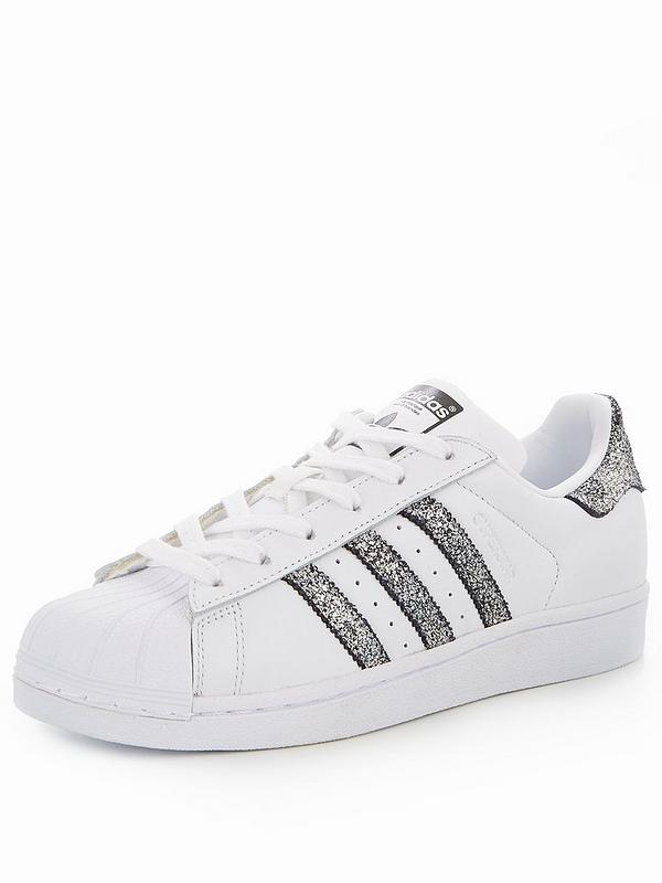 Details about ADIDAS SUPERSTAR Shell Toe Trainers White Leather Silver Glitter 3 StrIpes UK 5