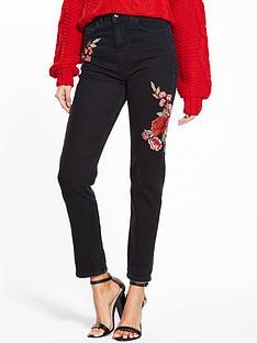 miss-selfridge-miss-selfridge-embroidered-mom-jean-black