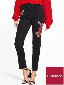 miss-selfridge-miss-selfridge-embroidered-mom-jean-black
