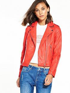 miss-selfridge-pu-biker-jacket-red