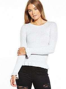 miss-selfridge-frill-rib-hem-fitted-top-greynbsp