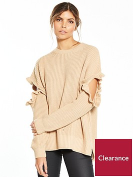 miss-selfridge-frill-elbow-jumper