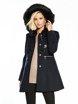Miss Selfridge Duffle Coat - Navy | very.co.uk