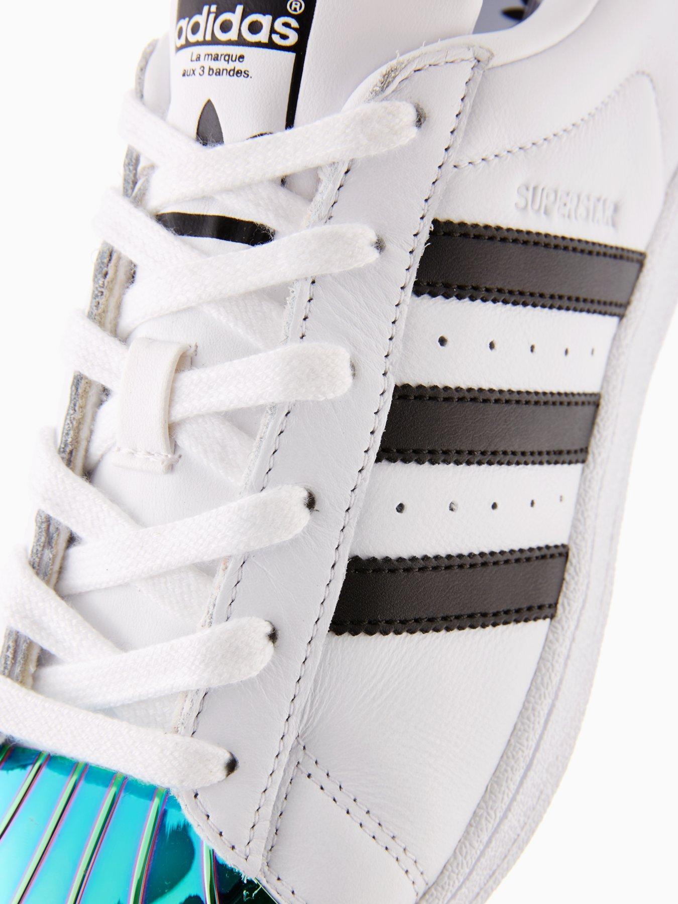 adidas originali di metallo bianco / nero alla pac superstar