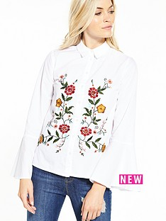miss-selfridge-miss-selfridge-poplin-embroidered-shirt