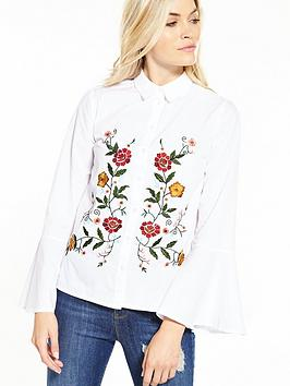 miss-selfridge-poplin-embroidered-shirt