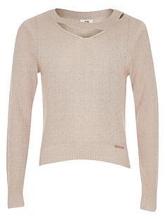 river-island-girls-light-pink-cut-out-lurex-knit-jumper