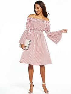 v-by-very-striped-cotton-bardot-midi-dress