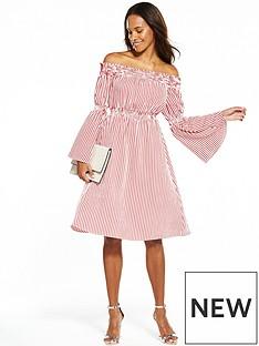 v-by-very-striped-cotton-bardot-midi-dress
