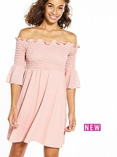 ri-petite-shirred-lace-bardot-dress